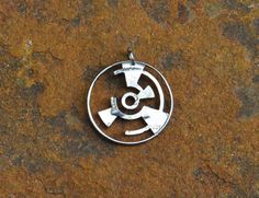 Mysterious Crop circle pattern hand cut coin crop circle pendant crop circle necklace geometric pendant geometric necklace by ScratchMetalwear Real Crop Circles, Hand Logo, Diamond Solitaire Necklace, Geometric Necklace, Coin Jewelry, Circle Pattern, Coin Pendant, Circle Necklace, Metal Necklaces