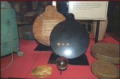 Dr Dee's Scrying Glass. British Museum. This is the mirror together with a small smoky quartz crystal ball used by Dee and Kelly for their occult research.  These are now on display at the British Museum. The mirror is made of highly polished obsidian (volcanic glass) and was one of many objects brought back to Europe after the conquest of Mexico by the Spanish conquistador Hernán (Ferdinand) Cortés.
