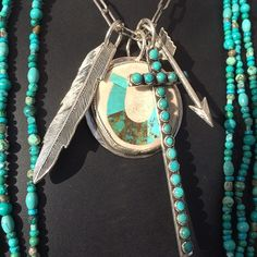 Turquoise jewelry #arrow #feather