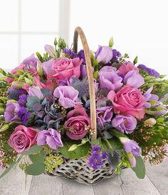 Same Day Flower Delivery UK Basket Flower Arrangements, Beautiful Flower Arrangements, Floral Arrangements, Purple Flowers, Silk Flowers, Pink Roses, Beautiful Flowers, Blossom Flower, My Flower