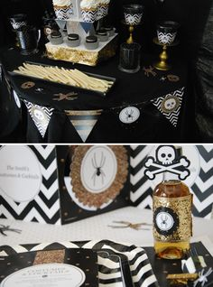 spooktacularly sophisticated halloween party ideas black and gold decorations - Sophisticated Halloween Decorations