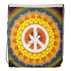 Psychedelic Peace Dove Drawstring Bags