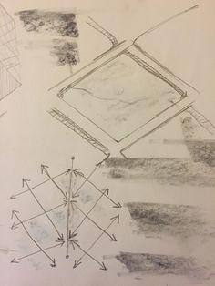 Sketch of the rhomboid-shaped grid on the façade (bubble glass) of Prada Aoyama