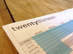 2013 Year at a Glance Wall Calendar - Printable PDF. $8.00, via Etsy.