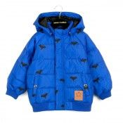 Mini Rodini Blue puffy jacket with bat print From www.kidsandcouture.com