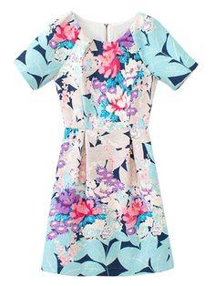 Multicolor Floral High Waist Short Sleeve Dress