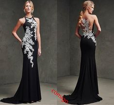 mermaid formal dress on sale at reasonable prices, buy 2017 robe de soiree elegant long evening party dress white lace black long chiffon evening dress mermaid formal dresses from mobile site on Aliexpress Now! Gorgeous Prom Dresses, Prom Dresses 2015, Gala Dresses, Backless Prom Dresses, Black Prom Dresses, Tulle Prom Dress, Formal Dresses, Farewell Dresses, Party Dress