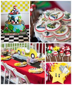 Mario Kart themed birthday party with lots of REALLY CUTE IDEAS via Kara's Party Ideas | Cake, decor, printables, favors, games, and MORE! Karaspartyideas.com