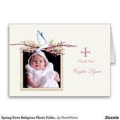 Spring Dove Religious Photo Folded Thank You Stationery Note Card