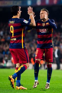 Neymar Santos Jr (R) of FC Barcelona celebrates with his teammate Luis Suarez after scoring his team's third goal during the Copa del Rey Quarter Final Second Leg between FC Barcelona and Athletic Club at Camp Nou stadium on January 27, 2016 in Barcelona