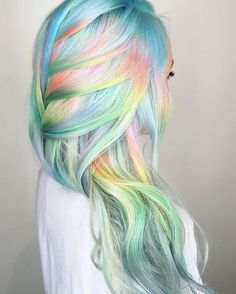 Pastel rainbow hair hair, 2019 hair styles, unicorn hair color ve dyed Pastel Rainbow Hair, Colourful Hair, Rainbow Hair Colors, Multicolored Hair, Colorful, Unicorn Hair Color, Mermaid Hair Colors, Mermaid Style, Pelo Multicolor
