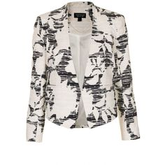 TOPSHOP Flower Print Cropped Jacket (80 BAM) ❤ liked on Polyvore featuring outerwear, jackets, blazers, topshop, coats, multi, cotton blazer, cotton jacket, floral blazer jacket and flower print jacket