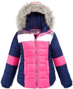 Protection System Girls' Active Colorblocked Puffer Coat with Faux Fur Trim