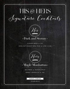 His and Hers chalkboard drink sign--Printable