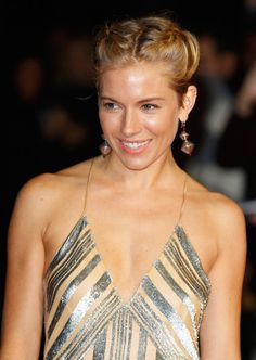 Braided Space Buns - Fun Hairstyle Ideas For When You're Growing Out Your Bangs - Livingly Side Hairstyles, Celebrity Hairstyles, Updo Styles, Hair Styles, Blonde Bun, French Pleat, London Film Festival, Sienna Miller, Braided Updo