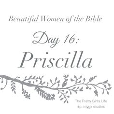 Beautiful Women of the Bible: Day 16 - Priscilla was strong-minded, fervent in her love for God, and loyal to her husband. She was trusted by Paul to manage the church he left behind, and she taught the gospel as Paul had done. Without Priscilla and her husband to teach and organize, the early church may not have blossomed as soon as it did. Priscilla and Aquila were generous, loyal, and friends to many. Read her story here: www.PrettyGirlStudies.blogspot.com