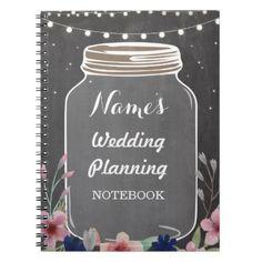 Notebook Rustic Wedding Planning Jar Chalk Bride