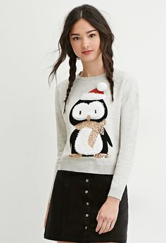 Fuzzy Penguin Christmas Sweater - Christmas Jumpers! - Forever 21