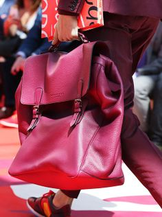 Textured leather accessories in antique red and burgundy - captured at the Burberry S/S15 men's show yesterday
