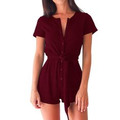 a6394c691ff Playsuits Casual Bodycon Women Rompers Short Sleeve Solid Beach Buttons Playsuits  Overalls With