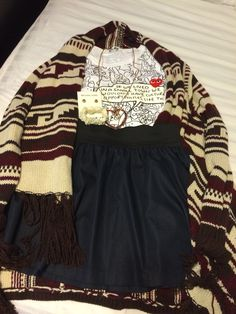 Simple OOTD Comme des Garçons Play Shirt, Blue Skirts and Aztec Sweater from Forever 21. Accessorize with Michaelkors
