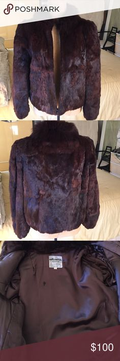 Fur Jacket This is a vintage brown rabbit fur jacket which has 2 small splits in fur on the underside of sleeve.Made in Hong Kong split end ltd. Jackets & Coats