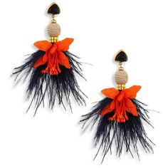 Lizzie Fortunato Garden Party Onyx & Ostrich Feather Drop Earrings ($275) ❤ liked on Polyvore featuring jewelry, earrings, 18 karat gold jewelry, onyx drop earrings, statement earrings, drop earrings and feather jewelry