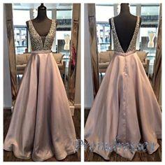 Beaded v-neck champagne sequins + satin prom dress
