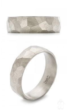 Custom Asymmetrical White Gold Geometric Hammered Men's Band #JosephJewelry