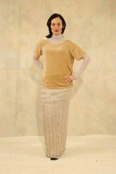 velvet top and silk skirt