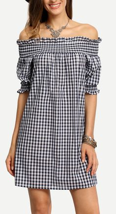 An Adorable dress is important for my first dating. Take it simple, comfortable & lovely! Blue White Plaid Off The Shoulder Shirt Dress at shein.com.