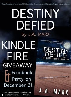 "Author J.A. Marx is celebrating the release of ""Destiny Defied"" by giving away a Kindle and hosting a Facebook party on 12/2! Click to enter and to find out more details!"
