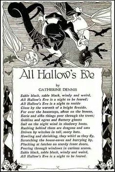 [ Halloween Quotes : Illustration Description All Hallow's Eve by Catherine Dennis-Child Life Magazine. Halloween Poems, Vintage Halloween Cards, Samhain Halloween, Halloween Pictures, Holidays Halloween, Halloween Crafts, Happy Halloween, Halloween Stuff, Halloween Labels