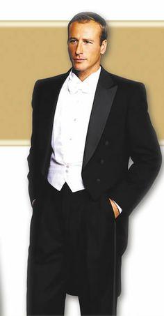 classic peak full dress tuxedo | ... six black milan peak full dress full length tails satin peak lapels