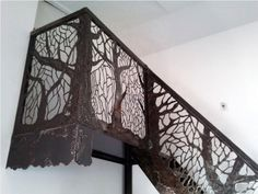 Stair/landing railing from cut out scrap metal. Metal Stairs, Metal Railings, Banisters, Stair Railing, Plasma Cnc, Plasma Cutting, Laser Cut Screens, Wood Cladding, Decorative Screens