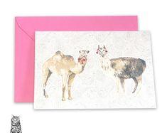 Surface Pattern Designs by TasherellaKitty on Etsy Desert Buddies - Llama - Camel - Greetings Card