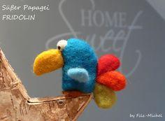 Monster & Tiere - Süßer Papagei FRIDOLIN, handgefilzt - ein Designerstück von Filz-Michel bei DaWanda