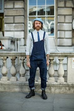 shirt + tie lumbersexual in overalls with an oversized pocket + hat // menswear street style + fashion