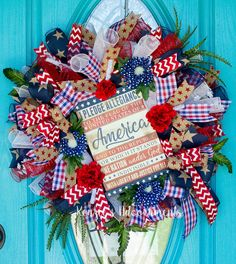 Patriotic Wreath, America Wreath, Flag Wreath, Pledge of Alligiance, Independence Day Wreath, July 4th Wreath made by Kenzie's Adoornments on Etsy and FB