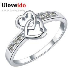 30% de Descuento Del Corazón Anillos para Las Mujeres Bijoux Anillo con Piedras anillos de los niños de regalos para niñas joyería de cristal anillo de compromiso uloveido J328