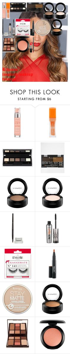 """""""Rihanna inspired makeup tutorial"""" by oroartyellie on Polyvore featuring beauty, Bourjois, Rimmel, MAC Cosmetics, Maybelline, Benefit, eylure and Charlotte Tilbury"""