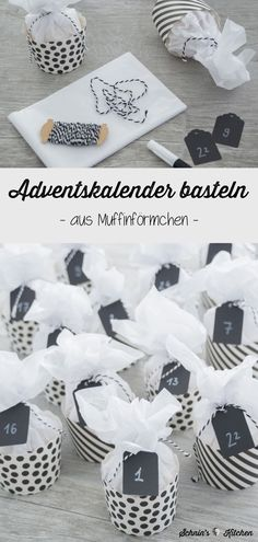 advent calendar made of muffin cases in black and white - pretty, cute . - Schnin's Kitchen - meine Rezepte & DIYs -DIY advent calendar made of muffin cases in black and white - pretty, cute . Origami Diy, Christmas Time, Christmas Gifts, Diy Cadeau, Diy Advent Calendar, Advent Calendars, Chrome Nails, Muffin Cups, Diy And Crafts