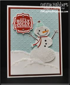 InkspiredTreasures.com, CCMC271, Stampin Up, Snow Day, Create with Connie and Mary, Tags 4 You, snowman, Christmas card, winter