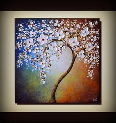 ORIGINAL ART 24 x 24 Palette Knife Textured Modern Home Decor Landscape Abstract White Cherry Blossom Tree Painting by ZarasShop
