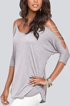 Cold Shoulder 3/4 Length Sleeve T-shirt with Strappy Detail - US$11.95 -YOINS