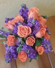 Purple Stock with orange roses flower arrangemet #orangepurpleflowerarrangement #rosestockflowerarrangement #mybouquetlv