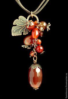 Маленькие сердоликовые подвески - коричневый,Сердолик,подвеска,флористический стиль