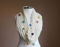 RESERVED Infinity Scarf with Colorful Felted Pom by ForYouDesign