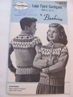 Canadiana Lapp Fjord Cardigan, Knitting Patterns, Raglan Sleeve Sweater Pattern, Kids Sizes 8, 10 and 12