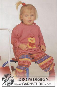 "DROPS jumper with teddy motif and pants in ""Safran"". ~ DROPS Design"